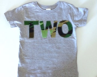 Second Birthday Shirt  Green Camo camouflage modern Birthday Boys Shirt two gift photo prop navy gray