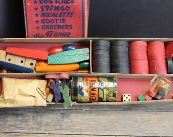 Vintage Wood Game Chest Box Toys and Game Pieces // DeLuxe Edition 52 Games // Vintage Toys