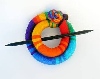 Hair bun Barrette, Hairstyle fascinator, Rainbow Colorful slide, Head accessory, Long curly hair, Sparkly Scarf clip, Round slide brooch