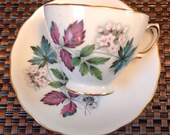 Vintage Ridgway Potteries gold rimmed Royal Vale Bone China tea cup and saucer