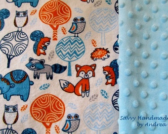 Minky and Flannel Baby Blanket with Animals, Baby Blanket with Minky