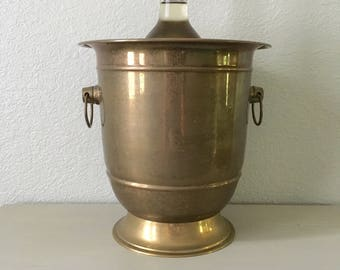 Vintage Brass Champagne Bucket / Wine Chiller / ice bucket / barware / lots of patina / pedestal base and ring handles