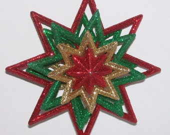 Christmas ornament, glittery layered red and green star, 4 and 1/2 inches long, Free standard USA shipping only, #CO240