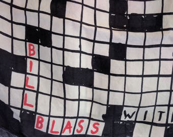 VINTAGE BILL BLASS Crossword Themed Silk Scarf in Black and Cream with Red Accent and Rolled Edges