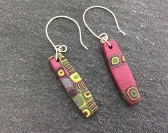 Mismatched earrings - Hook earrings - Polymer clay earrings - Rapberry colours