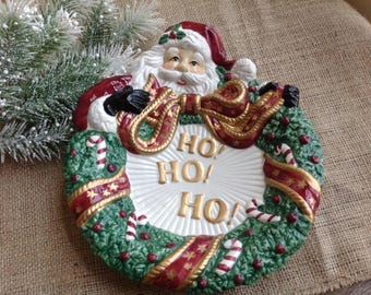 Fitz and Floyd Ho Ho Ho Christmas Canape Plate with Old World Santa 20 Dollars Total with Shipping