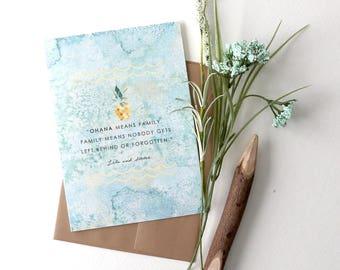 """Thinking of You Card, """"Ohana"""", Aloha, Hawaiian, Family, Lilo and Stitch"""