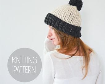 KNITTING PATTERN - easy foldover brim beanie - the piper beanie