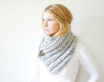 SPRING SALE The OXFORD - ribbed chunky crochet scarf button cowl scarf - marble