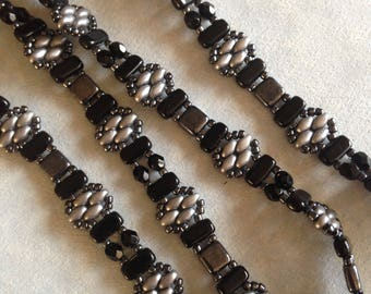 Black and Gray Stackers Wrap Bracelet