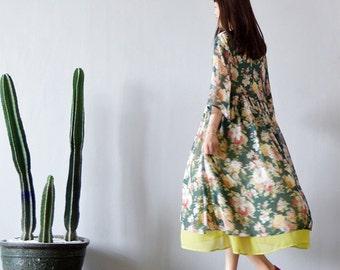 Retro Mori Girl Cotton Silk Cheongsam Flower Dress Pull Femme Women Clothing Robe Hiver Longue Ropa Mujer Saida De Praia Tunique