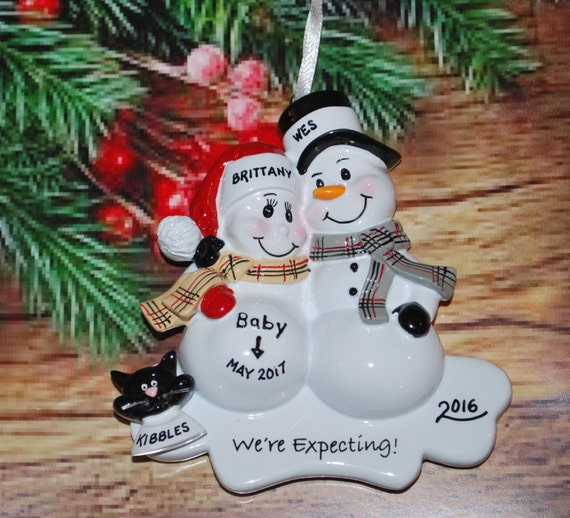 Pregnant Snowman Couple with optional DogCat Christmas