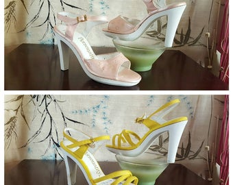 1960s Heels Pink / Yellow Pumps Petite Size Womens 4 or Girls 2 Vintage Shoes Strappy Heels