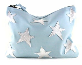 NEW! Superstar Leather Statement Clutch | Baby Blue | Metallic Silver | Star Clutch | Cowhide Leather | Handbag | Handmade