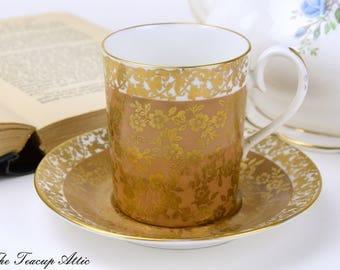 Royal Albert Gold Floral Chintz Brown Kingston Can Shaped Demitasse Set, Vintage English Bone China Tea Cup Set, ca. 1970