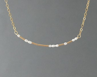 CUSTOM PEARL Gold Fill Morse Code Necklace also in Sterling Silver