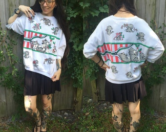 Vintage rare New York cat kittens christmas sweater small