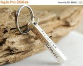 FREE SHIPPING Personalized Hand stamped key chain, fathers day gift, bar key chain, coordinates