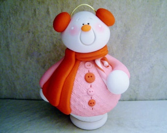 Large Snowman - Polymer Clay - Christmas - Holiday Figurine