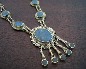 Women's Vintage Afghani Lapis Lazuli Necklace // Tribal Lapis Lazuli Necklace // Yoga, Buddhist, Jewelry