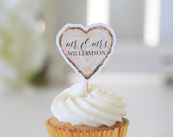 Woodgrain Mr. & Mrs. Cupcake Toppers, Wedding, Heart Shape, 12 Toppers per 1 order