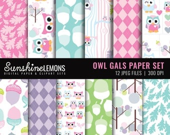 Owl Gals - Pink Baby Owls Digital Scrapbooking Paper Set - COMMERCIAL USE Read Terms Below