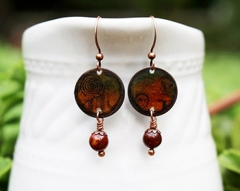Mixed Media Earrings Mixed Media Jewelry Recycled Repurposed Burnt Orange Earrings Bohemian Earrings Green Dangle Earrings Gemstones