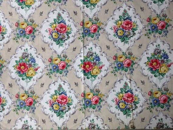 Vintage Fabric Barkcloth Uk Seller Not Reproduction