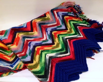 Crochet Afghan Blanket Multi-color Chevron Pattern with Fringe