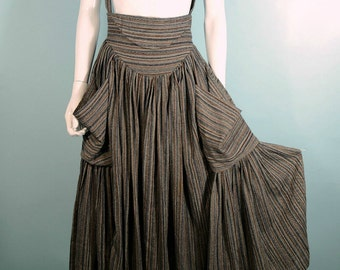 "Rare Vintage 80s Norma Kamali High Waist Suspender Skirt, Full Sweep Skirt + Huge Pockets, Woven Striped Fabric, Fitted 26"" Waist S"