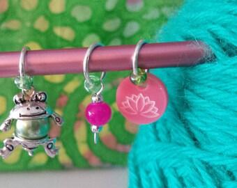 Frog/Lotus Knitting Stitch Markers Set 3-Large Ring Stitch Markers Fits to US10*Knit Marker Set*Frog Bead Belly*Lotus*Pink Gemstone Bead