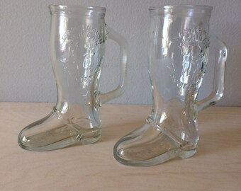 Glass boot beer mugs set of two from Frankenmuth Michigan