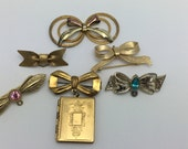 Bow Destash Vintage Bow Jewelry Lot bow pins