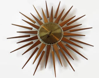 Mid Century Seth Thomas Starflower Sunburst Wall Clock Starburst Atomic