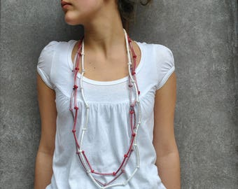 Minimal Necklace / Textile multistrand necklace / Modern Stacking Necklace / Simple / Minimalist jewelry / Spring fashion jewelry