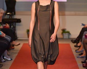 Grey fitted dress/ Zipper dress/ Sleeveless dress/ Asymmetrical drees/ High collar dress