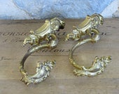 Pair of French ormolu hooks gilded wall hooks