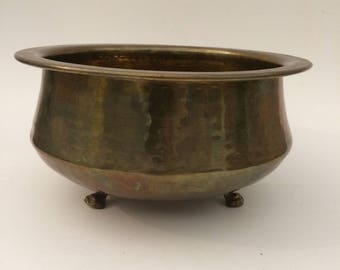 Hammered Brass Footed Planter