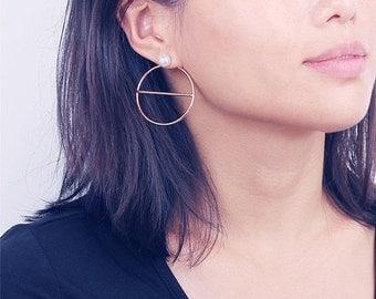 ON SALE Geo large open circle earrings - Large moon earrings - large circle studs - pearl earrings - front back earrings