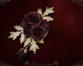 Rosarium Brooch - Dark Wine Red - M1717