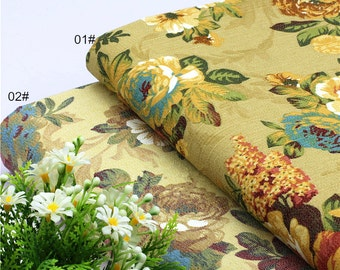 Retro Flower Cotton DeminFabric, Reactive print,Flower Printing, Thick, Soft and little fabric (QT1045)