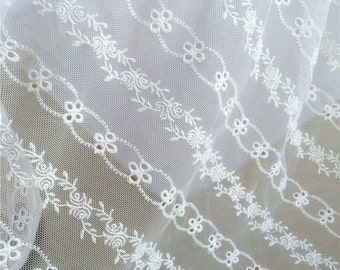 White Lace stripe Fabric, Embroidered Fabric, Hollowed Netting Lace For Bridal Dress Curtain- One yard Lace W201