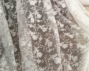 1 Yard Lace Fabric,Floral,Branches, Embroidery,Wedding,Bridal,off White Color,Polyester Mesh,Dress Curtain Lace fabric (W198)