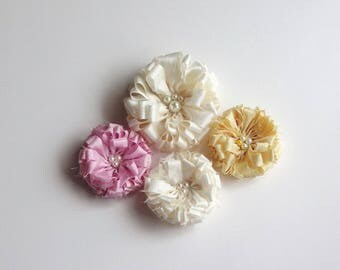 Ivory, Pink and Yellow Fabric Flowers Embellishment
