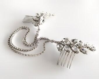 Silver Hair Chain, Wedding Headpiece, Pearl Draped Bridal Hair Comb, Leaf Head Piece, Bridal Hair Accessory, Belinda hairchain GD1711