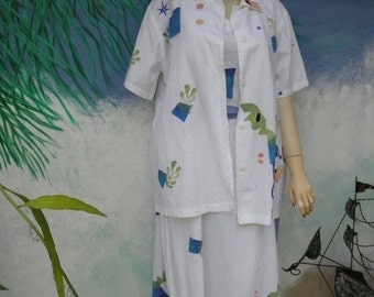 1/2 OFF Play Alegre 2 Pc Hand Painted 100% Cotton White Maxi Dress & Short Sleeve Shirt, sz M