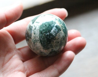Moss Agate Stone Sphere 40 mm #81444