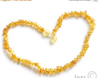 15% OFF Raw Unpolished Baltic Amber Baby Teething Necklace Honey Color Beads