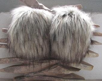Large Faux Fur Pom Pom , Grey Fox