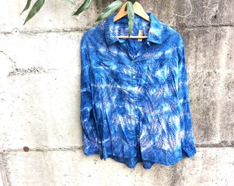 Indigo dyed shirt, size L, naturally dyed blouse, upcycled top
